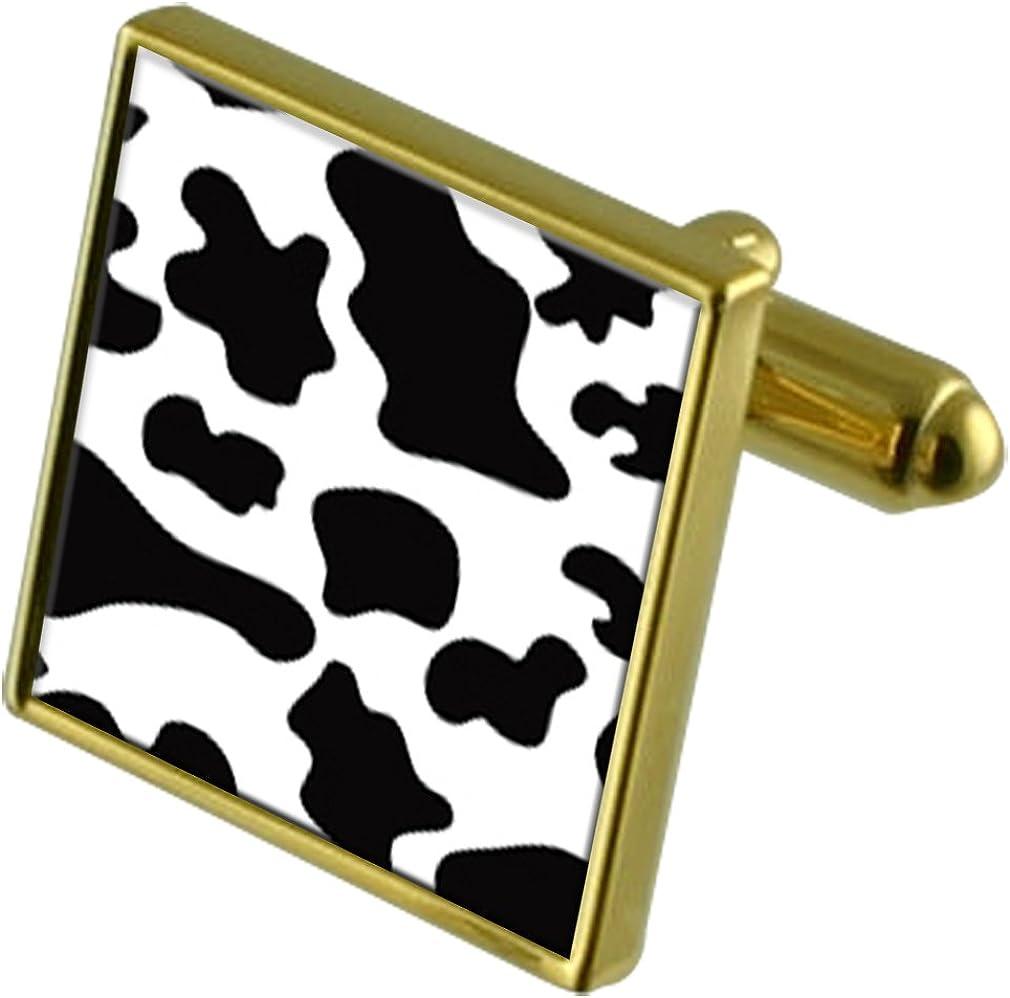 Cow Skin Print Gold-tone Cufflinks Crystal Tie Clip Gift Set