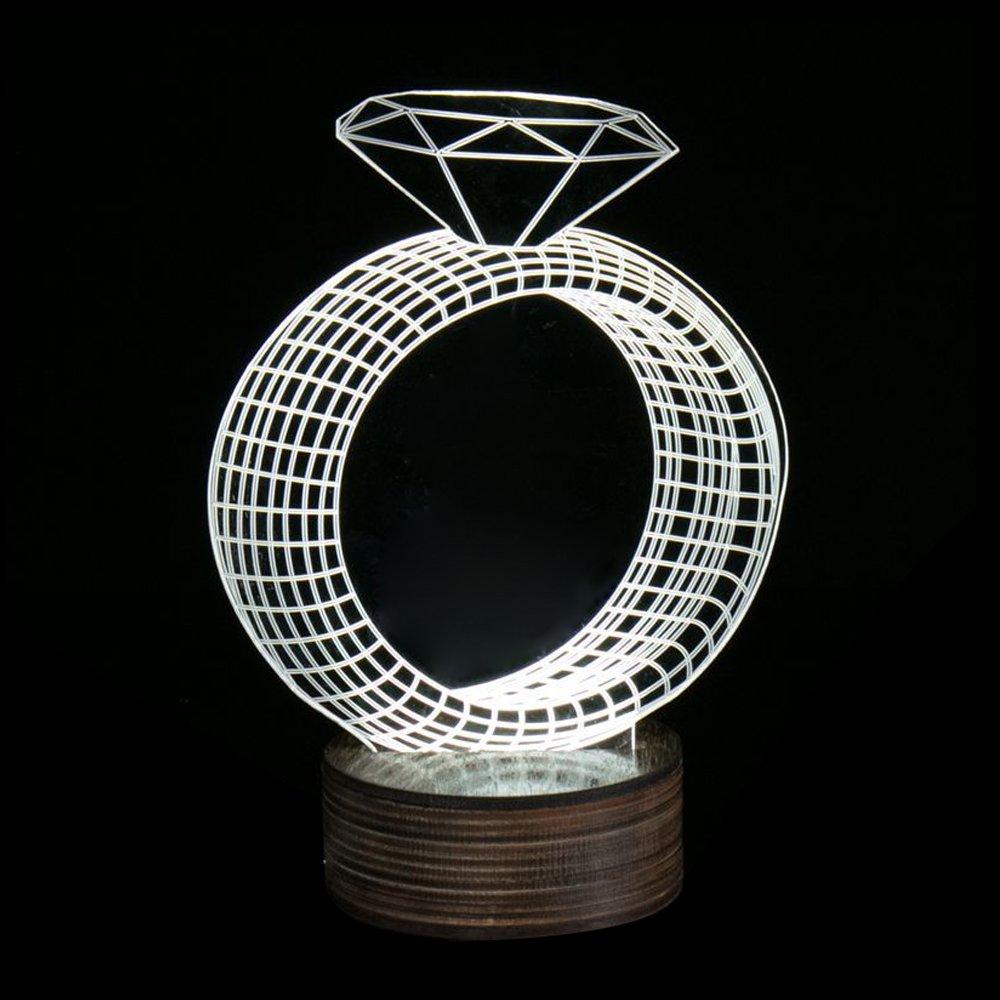 Ornerx 3D Illusion Lamp White LED Night Light Diamond Ring by ornerx (Image #1)