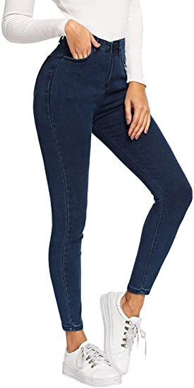 HX fashion レディースクロップスキニージーンズパンツスリムカジュアルパンツハイウエストパンツデニムジーンズファッション2019女性服