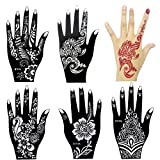 6 Pieces India Henna Tattoo Stencil for Women Girl Hand Art Painting Temporary Tattoo Sticker Glitter Templates 20 X 10.5cm