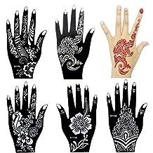 6 Pieces India Henna Tattoo Stencil for Women Girl Hand Art Painting Temporary Tattoo Sticker Glitter Templates 20 X 10.5cm