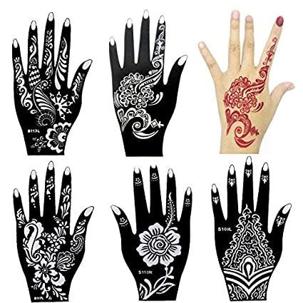 d1fce84d4 Amazon.com: 6 Pieces India Henna Tattoo Stencil Kit for Women Girl Hand Art  Painting Temporary Tattoo Sticker Glitter Templates 20 X 10.5cm: Arts, ...