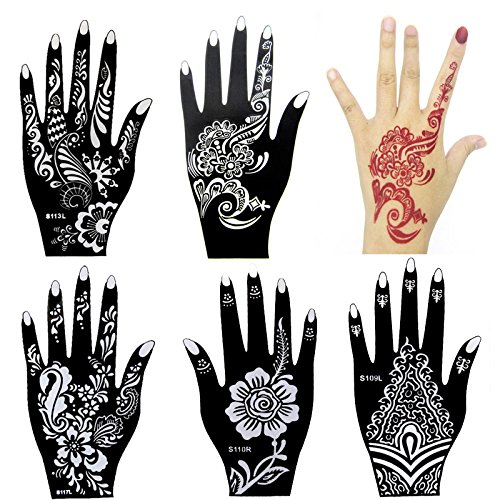 6 Pieces India Henna Tattoo Stencil Kit for Women Girl Hand Art Painting Temporary Tattoo Sticker Glitter Templates 20 X 10.5cm