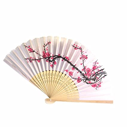 ba5d191d0 DierCosy 1pcs Fancy Chinese Silk Bamboo Hand Held Folding Cherry Blossom Fan:  Amazon.ca: Home & Kitchen