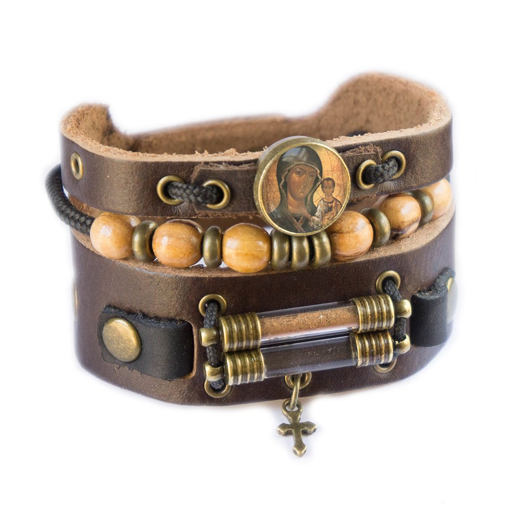Virgin Mary Bracelet with Olive Wood Beads, Jordan River Holy Water and Jerusalem Earth (Women size: 6.5 - 7.5 Inches) by Rani Shoket