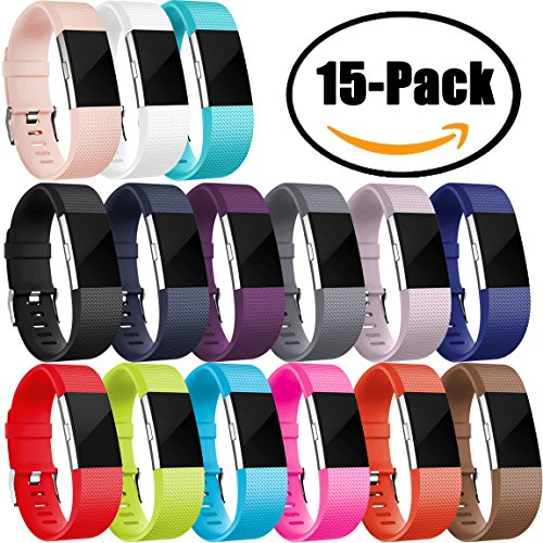 For Fitbit Charge 2 Bands (15 Pack), Maledan Replacement Accessory Wristbands for Fitbit Charge 2 HR, - Band Wristband