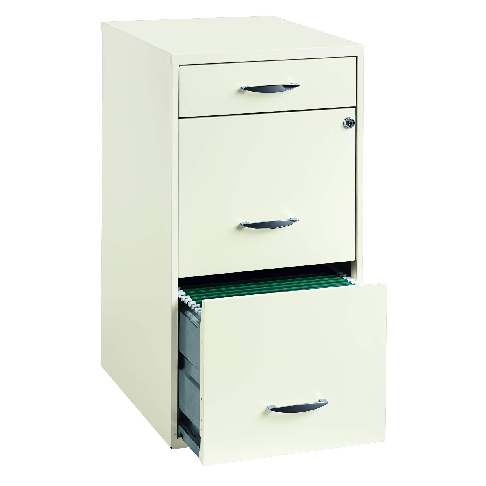Space Solutions 18'' Deep 3 -Drawer Organizer File Cabinet, Pearl White