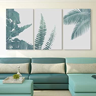 wall26 3 Panel Canvas Wall Art - Retro Style Green Tropical Leaves - Giclee Print Gallery Wrap Modern Home Decor Ready to Hang - 16 x24  x 3 Panels