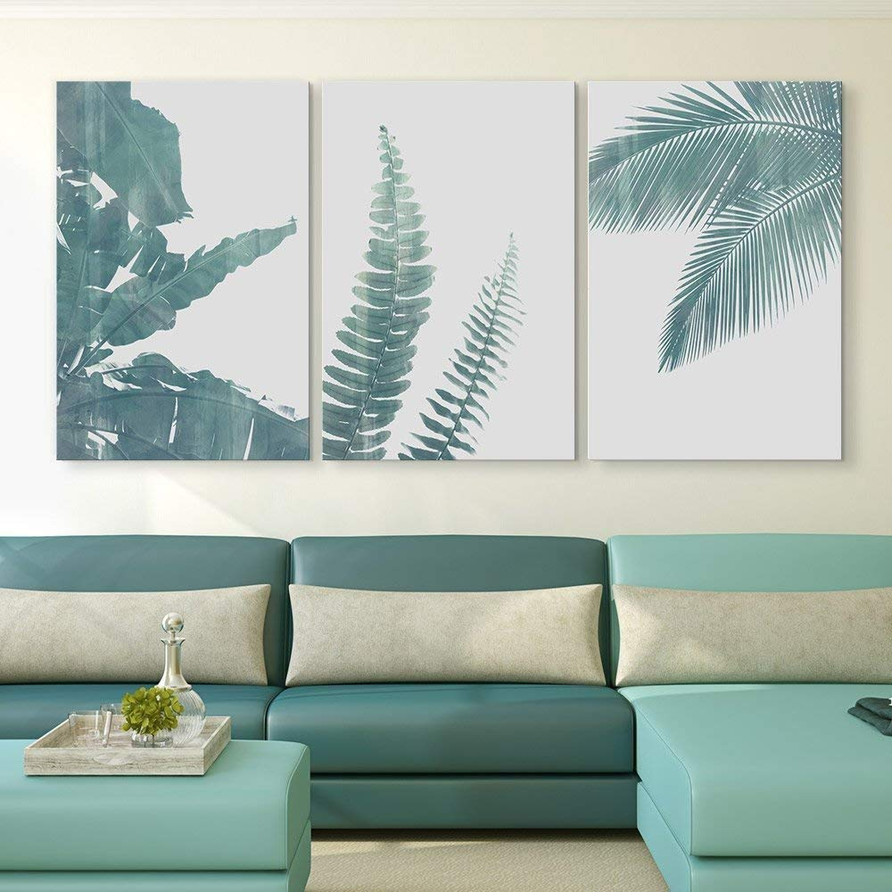 wall26 3 Panel Canvas Wall Art - Retro Style Green Tropical Leaves - Giclee Print Gallery Wrap Modern Home Decor Ready to Hang - 24''x36'' x 3 Panels by wall26