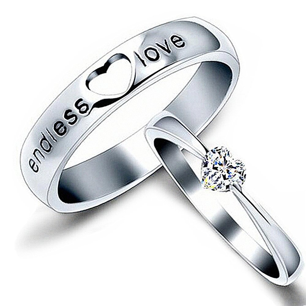 b9a7a3a01a Amazon.com: LOCHING Simple Endless Love 925 Sterling Silver Cubic Zirconia  Couple Lovers Band Ring Wedding Promise Engagement Anniversary Ring Set  ONLY 1 ...