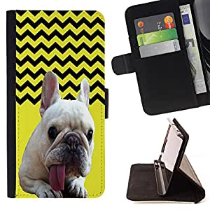 - FRENCH BULLDOG Chevron - - Premium PU Leather Wallet Case with Card Slots, Cash Compartment and Detachable Wrist Strap FOR Samsung Galaxy S3 MINI I8190 King case