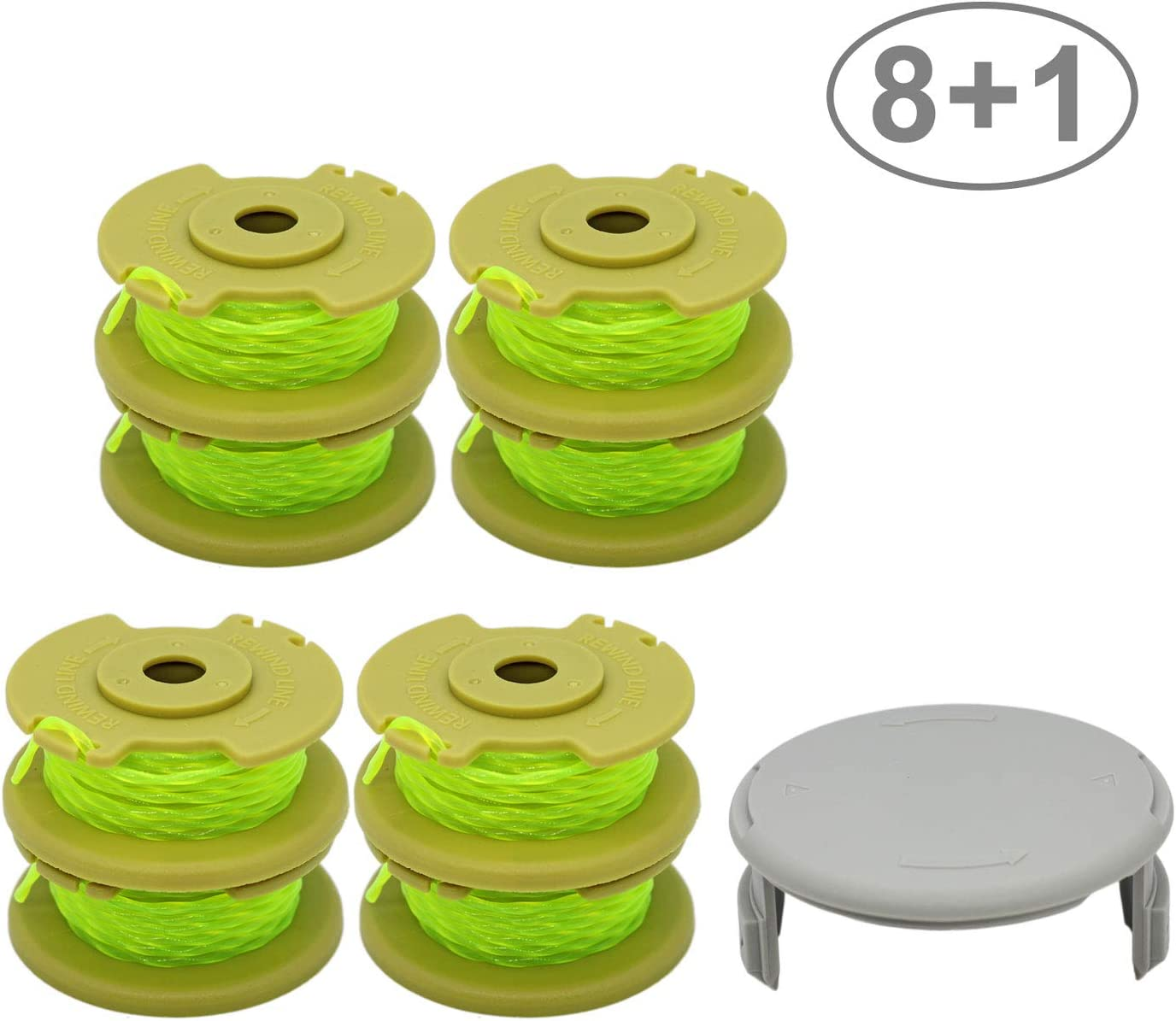 RONGJU 8 Pack Weed Eater Spool Replacement Compatible with Ryobi One Plus+ AC80RL3 for Ryobi 18v, 24v, 40v Cordless Trimmers 11ft 0.080 Inch Twisted Line + 1 Pack String Trimmer Cap (8 Spools, 1 Cap)