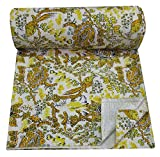 Magic Indians Yellow Handmade Sari Kantha Quilt Floral Bird Design Kantha Bedspread Indian Cotton Kantha Blanket Colorful Kantha Bed Cover Queen Size Kantha Beach Throw Picnic Throw Kantha Wall Decor