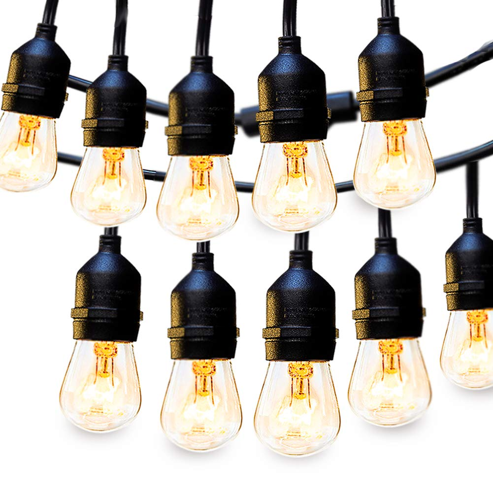2 Pack 48 FT Outdoor String Lights with Edison Vintage Bulbs, UL Listed
