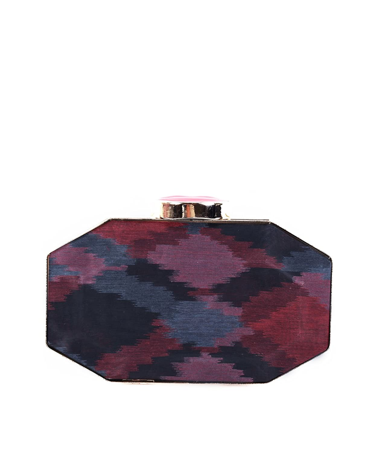 Cotton Red Ikat Print Metal Women Clutch