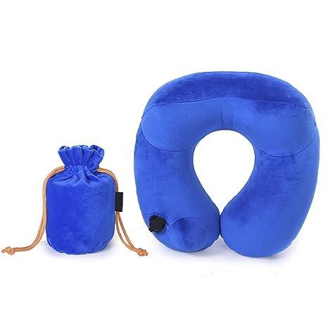 Almohada de Viaje Lujosamente Suave en Forma de U Inflable portátil Plegable con Terciopelo con Auriculares
