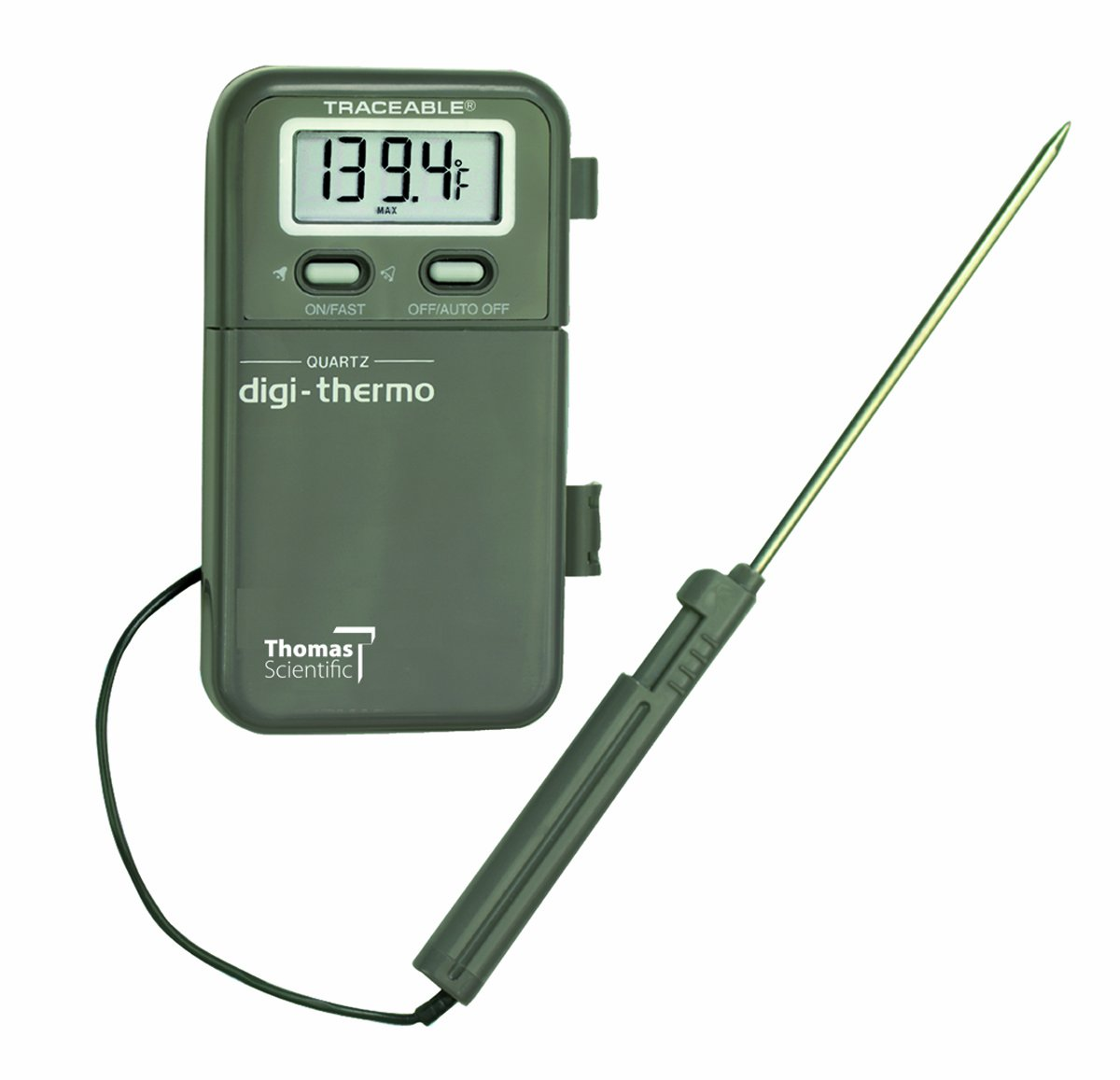 Thomas Digital Thermometer, with 1/2'' 4 Digit LCD Display, 7-1/4'' Probe Length, -58 to 500.8 degree F, -50 to 260 degree C