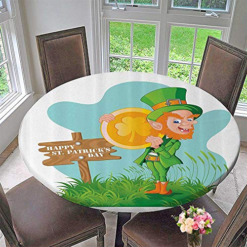 Mikihome Modern Table Cloth Festive Leprechaun with Costume Holding Large Shamrock Gold Coin Hill 55
