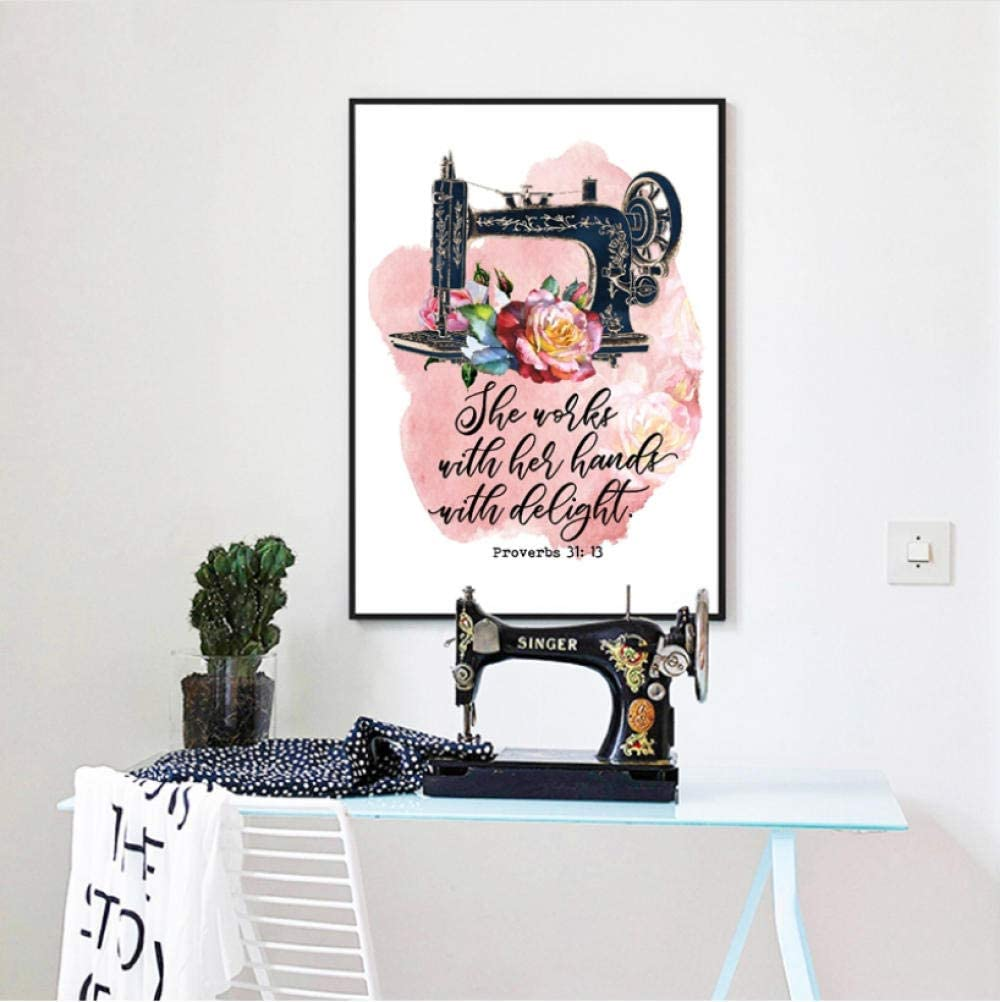 mmbj Máquina de Coser Vintage Proverbios 31:13 Cotizaciones Carteles e Impresiones Acuarela Flores Lienzo Pintura Mamá Regalos Hogar Arte de la Pared Decoración 60x80cm: Amazon.es: Hogar
