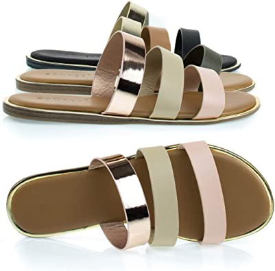 Gold Color BAMBOO Women T-Strap Slip on Stylish Flat Sandals Shoes Size 8.5