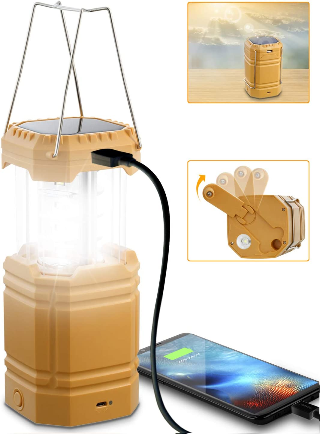 Camping Lantern Solar Hand Crank Powered, Rechargeable LED Lantern Flashlight 3000mAH Power Bank, Waterproof, Long Runtime, Portable Emergency Lantern Camping Light for Home, Outages, Survival Kits