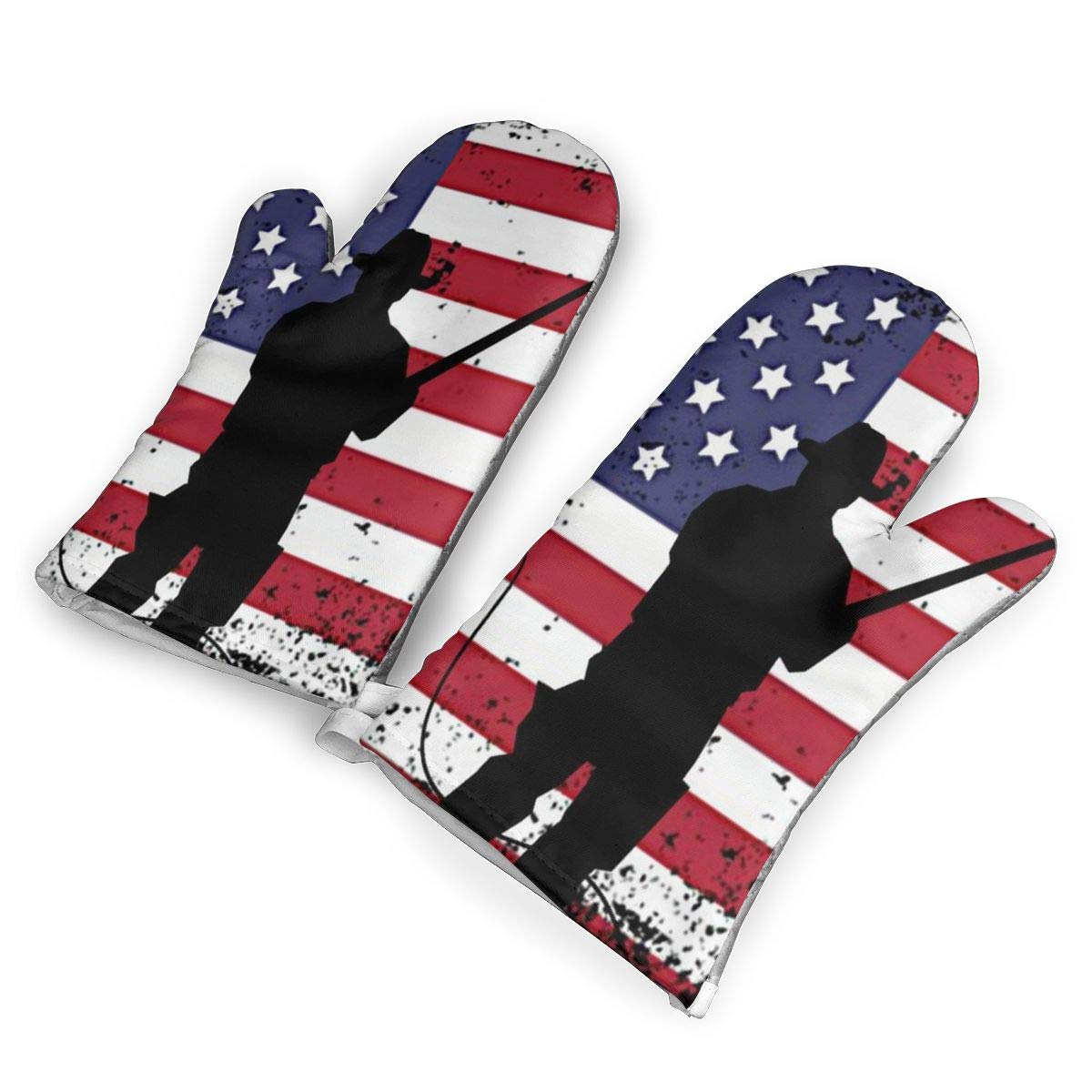 not American Flag Fishing Oven Mitts with Polyester Fabric Printed Pattern,1 Pair of Heat Resistant Oven Gloves for Cooking,Baking,Grilling,Barbecue Potholders