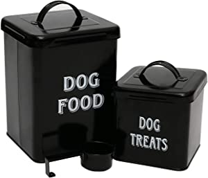 Dog Food and Treats Containers Set with Scoop for Cats or Dogs - Beige Powder - Coated Carbon Steel - Tight Fitting Lids - Storage Canister Tins - Dog Food - Black