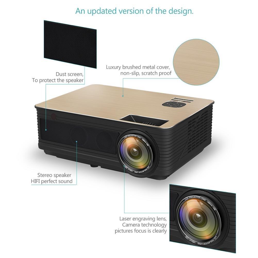 wangwtry Proyector 3000Lumen Proyector de vídeo proyector Home ...