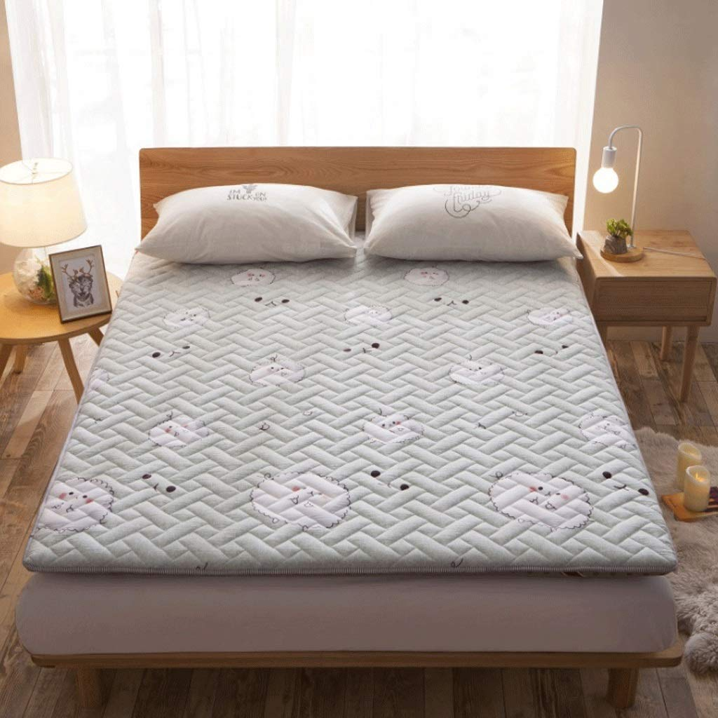 2 150X200cm Washed Cotton Padded Mattress 8cm Thickness Tatami Single Double Sleeping Mat (color   2, Size   150X200cm)