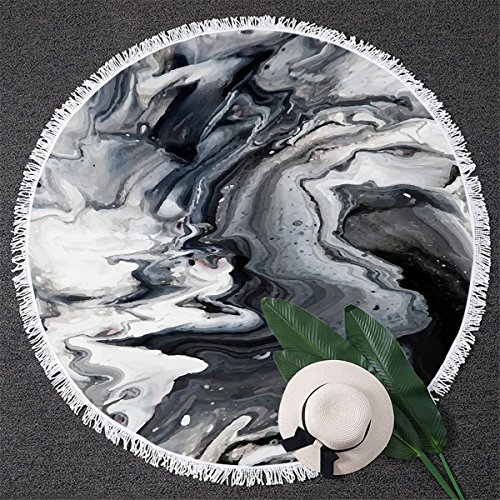 BlessLiving Marble Stone Beach Towel Large Round Beach Blanket Abstract Beach Throw Marbled Modern Yoga Mat (Black and White, 59 inch)