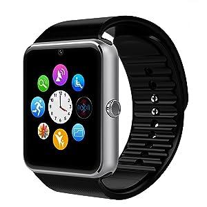 Smartwatch Android, DeYoun® Bluetooth Smartwatch Intelligente Orologio Da Polso Telefono con Slot per Scheda SIM / TF per Android Samsung Huawei Xiaomi Sony LG HTC Iphone IOS [ Parte delle funzioni ]- Argento