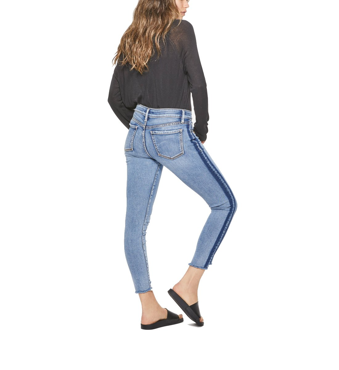 Silver Jeans Co. Women's Aiko Slightly Curvy Fit Mid Rise Ankle Skinny Jeans, Indigo Tuxedo, 27x27