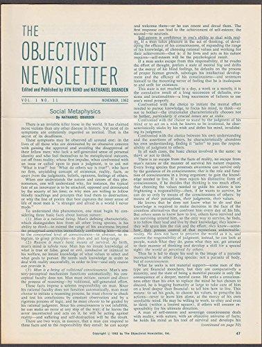 Objectivist Newsletter Vol 1 #11 N Branden Social Metaphysics Ayn Rand 11 - N Rand
