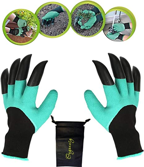 YTH Garden Gloves with Claws, Great for Digging Weeding Seeding poking  ,Safe for Rose Pruning \u2013Best Gardening Tool ,Best Gift for Gardeners  (Double