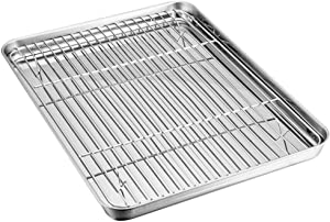 Baking Tray with Rack Set, Stainless Steel Baking Sheet Pan with Cooling Rack, Mirror Polish & Easy Clean for Kitchen Oil Drain Baking Food Cooker (23x17x2.5cm)