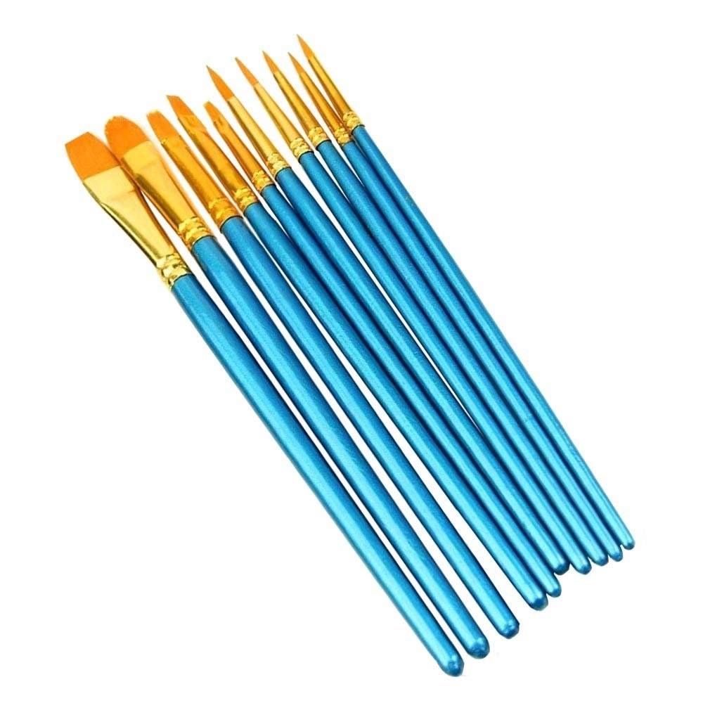 Camkey 10 Pieces Artist Paint Brushes Set Art Painting Supplies for Acrylic Watercolor and Oil Painting Round Pointed Tips