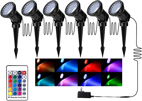 Color Changing Landscape Lights, Multi-Color Adjustable Dimmable IP66 Waterproof Spotlight with 36-LED Bulbs Spot Light with Spiked Stand for Garden Pathway Yard Patio Lawn Decoration-Set of 6