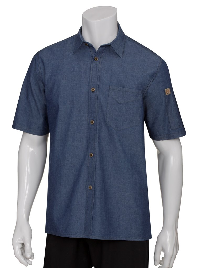 Chef Works Men's Detroit Short Sleeve Denim Shirt (SKS002) by Chef Works Men's Uniforms