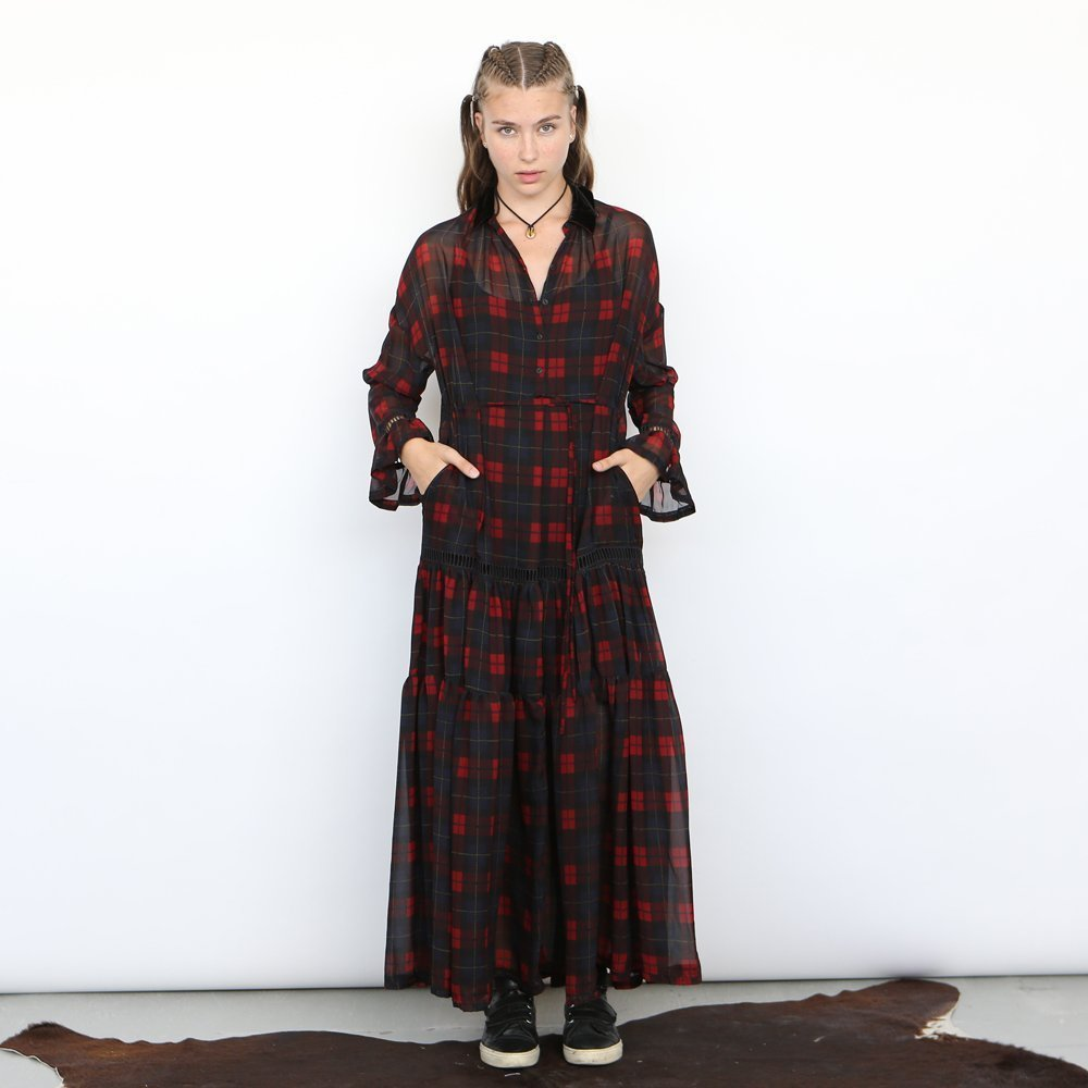 chiffon maxi Plaid dress