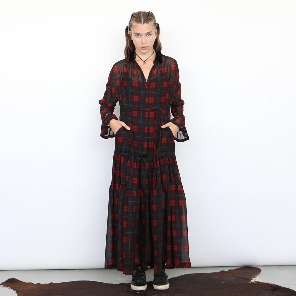 chiffon maxi Plaid dress