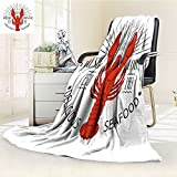 UHOO2018 Fleece Blanket 300 GSM Anti-static Super Soft seafood vintage label with lobster for your restaurant bar pub and cafe design Warm Fuzzy Bed Blanket Couch Blanket(90''x 70'')