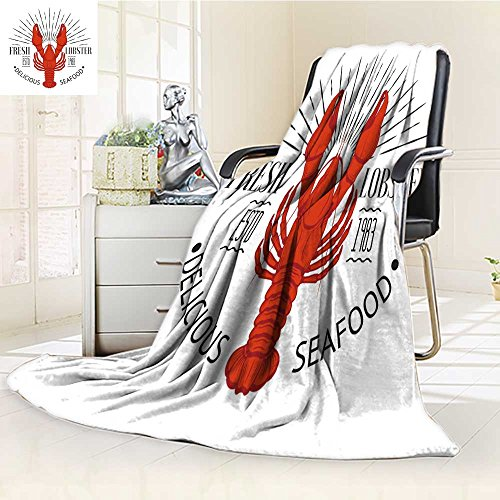 UHOO2018 Fleece Blanket 300 GSM Anti-static Super Soft seafood vintage label with lobster for your restaurant bar pub and cafe design Warm Fuzzy Bed Blanket Couch Blanket(90''x 70'') by UHOO2018