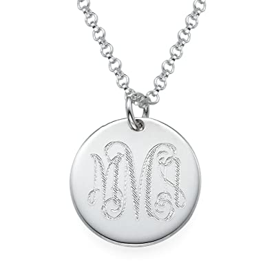 Amazon monogram disc necklace in sterling silver custom made monogram disc necklace in sterling silver custom made with any initial 16 inches mozeypictures Choice Image