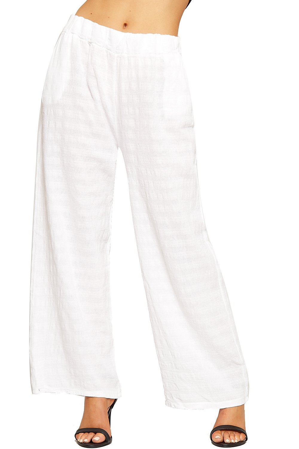 WEARALL Women's Baggy Linen Trousers Pants Ladies Elasticated Wide Leg  Flared Stretch New 8-14: Amazon.co.uk: Clothing