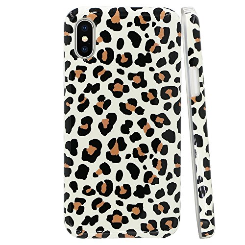 GoldSwift Flexible Soft Rubber Gel Case for iPhone Xs and iPhone X (Brown Leopard Print) ()