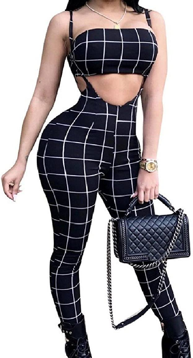 RomantcWomen Wrapped Chest Vogue Plaid 2-Piece Strap Crop Top and Long Pant Outfit