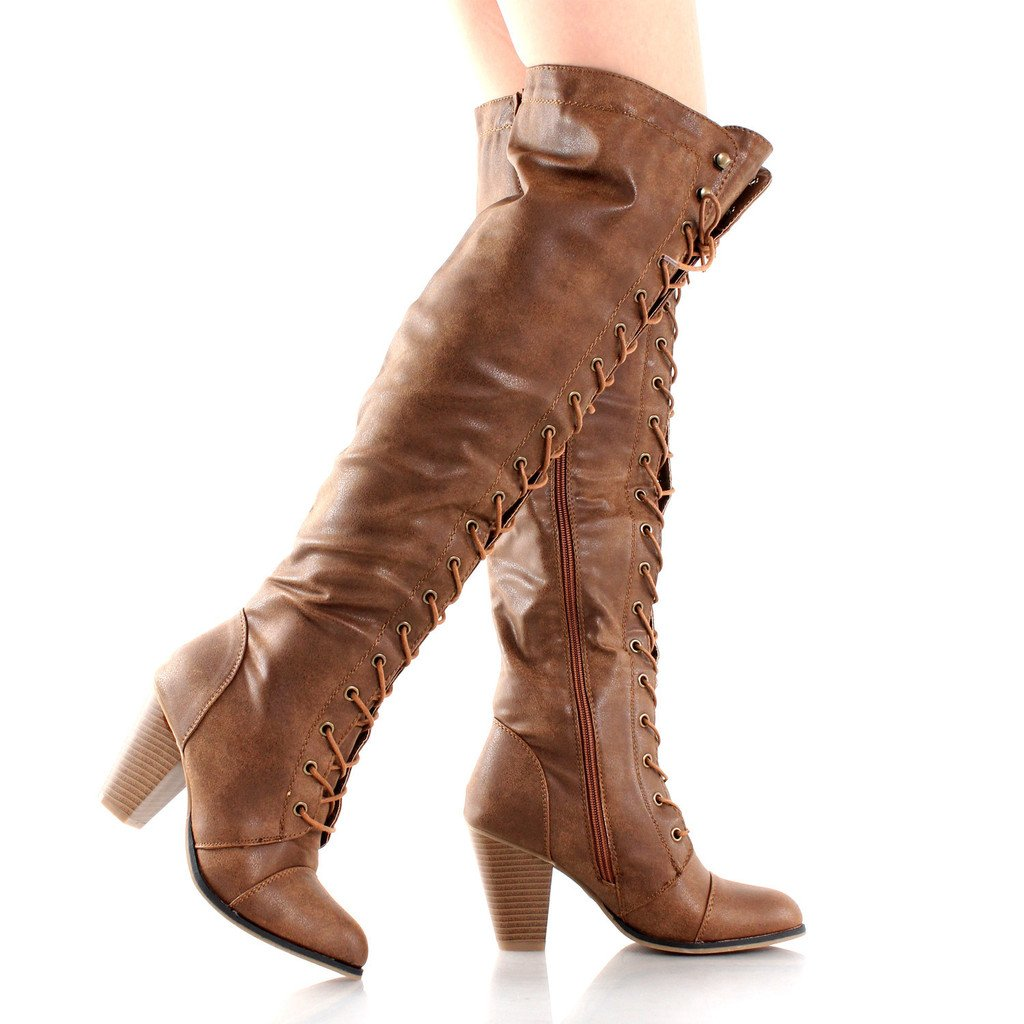 Vintage Style Shoes, Vintage Inspired Shoes Womens Thigh High Over-The-Knee Lace-Up Mid-Heel Boot $68.99 AT vintagedancer.com