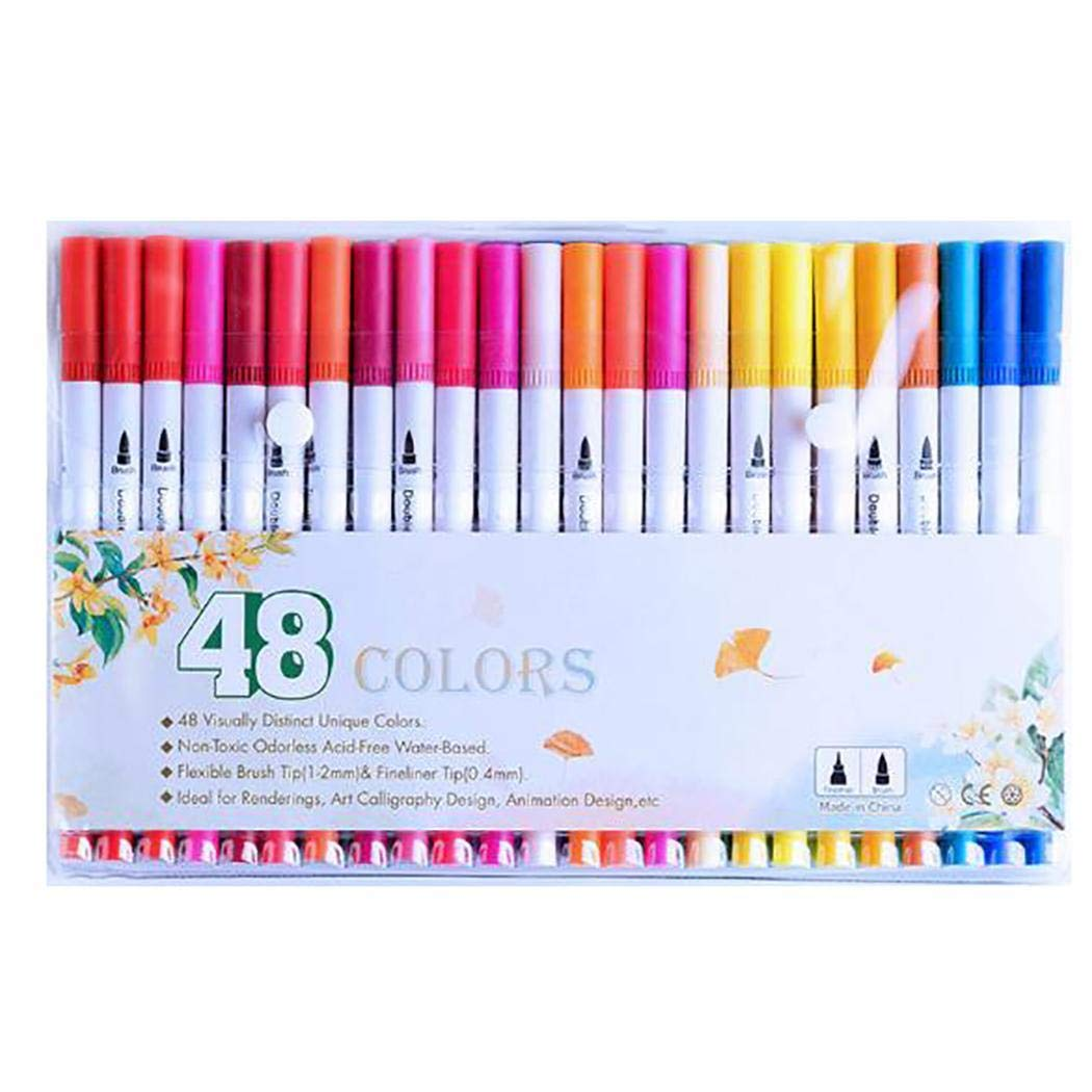 Hello22 48 Colors/Set Dual Tip Brush Watercolor Paint Pens, 48 Colors atercolor Paint Pen Marker Painting Graffiti Stationery Set for Adult Students Coloring Books Craft Doodling