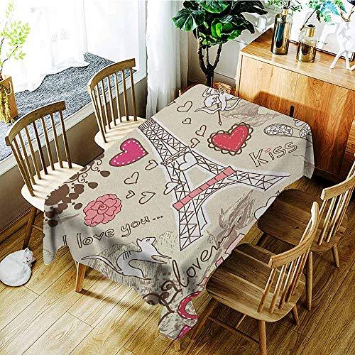 XXANS Custom Tablecloth,Paris,Doodles Illustration of Eiffel Tower Hearts Chandelier Flower Love Valentines Vintage,Party Decorations Table Cover Cloth,W52x70L Beige Pink ()