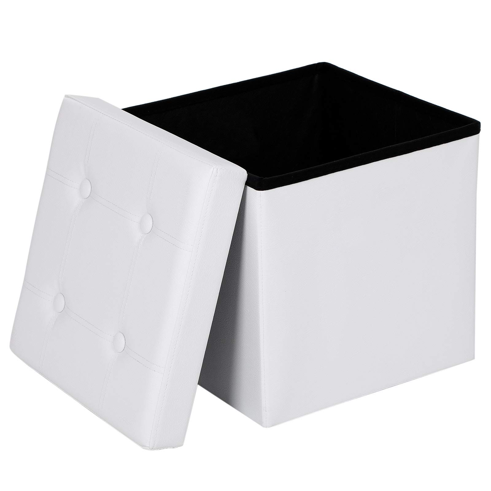 SONGMICS Baúl Puff Taburete de almacenaje Plegable 38 x 38 x 38 cm Carga máxima de
